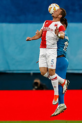 October 4, 2018 - Saint Petersburg, Russia - Elmir Nabiullin of FC Zenit Saint Petersburg and Vladimir Coufal (in front) of SK Slavia Prague vie for a header during the Group C match of the UEFA Europa League between FC Zenit Saint Petersburg and SK Slavia Prague at Saint Petersburg Stadium on October 4, 2018 in Saint Petersburg, Russia. (Credit Image: © Mike Kireev/NurPhoto/ZUMA Press)