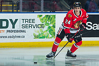 KELOWNA, BC - FEBRUARY 8: Seth Jarvis #24 of the Portland Winterhawks warms up on the ice against the Kelowna Rockets at Prospera Place on February 8, 2020 in Kelowna, Canada. (Photo by Marissa Baecker/Shoot the Breeze)