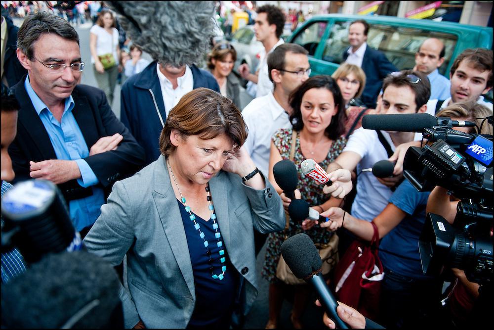 Martine Aubry, candidate aux primaires socialiste lors du rassemblement intersyndical national de l'education national, a Paris le 27 Septembre 2011 ©Benjamin Girette/IP3Press