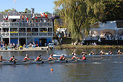 Boston, USA, Collegiate Women's Eights, pass, the Cambridge Boat Club, at the Head of the Charles Race, Charles River, Cambridge,  Massachusetts. Saturday  21/10/2007 [Mandatory Credit Peter Spurrier/Intersport Images]..... , Rowing Course; Charles River. Boston. USA Cambridge Boat House