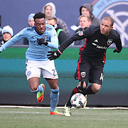NEW YORK, NEW YORK - March 12:  Rodney Wallace #23 of New York City FC challenges Nick DeLeon #14 of D.C. United during the NYCFC Vs D.C. United regular season MLS game at Yankee Stadium on March 12, 2017 in New York City. (Photo by Tim Clayton/Corbis via Getty Images)
