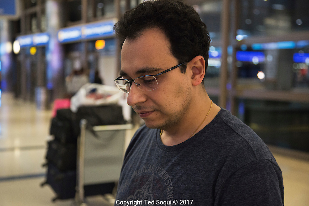 Artin Mokhtarian.<br /> Immigrants from countries on the anti-travel Muslim ban return to the US at LAX airport.