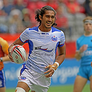 Silao Nonu brought a smile and a Try to Manu Samoa and its fans as Samoa went wild over Uruguay 45-14 at the Canada 7's, Day 2, BC Place, Vancouver, British Columbia, Canada.  Photo by Barry Markowitz, 3/11/18, 12pm