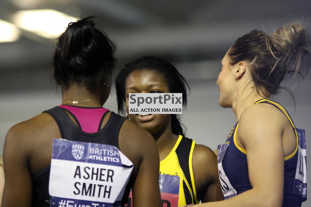 Asha Philip celebrates womans 60m win Uk Athletics championships and european trials EIS Sheffield 9nd Febuary 2013 (c) DAVID MOORE | StockPix.eu