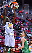 SAN DIEGO, CA - MARCH 18:  West Virginia Mountaineers forward Lamont West (15) dunks against Marshall Thundering Herd forward Ajdin Penava (11) during a second round game of the Men's NCAA Basketball Tournament at Viejas Arena in San Diego, California. West Virginia won 94-71.  (Photo by Sam Wasson)