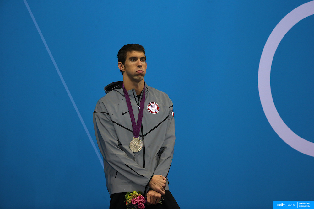 Michael Phelps, USA, after winning silver in the Men's 200m Butterfly Final at the Aquatic Centre at Olympic Park, Stratford during the London 2012 Olympic games. London, UK. 31st July 2012. Photo Tim Clayton