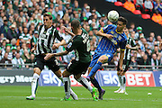 Connor Smith defender for AFC Wimbledon (18) makes an attempt on goal during the Sky Bet League 2 play off final match between AFC Wimbledon and Plymouth Argyle at Wembley Stadium, London, England on 30 May 2016. Photo by Stuart Butcher.