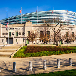 Chicago Soldier Field stadium photo. Soldier Field is home to the Chicago Bears NFL football team. Copyright ⓒ 2015 Paul Velgos with All Rights Reserved.