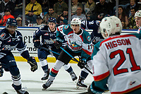 KELOWNA, CANADA - FEBRUARY 2:  Alex Swetlikoff #17 of the Kelowna Rockets looks for the pass against the Kamloops Blazers on February 2, 2019 at Prospera Place in Kelowna, British Columbia, Canada.  (Photo by Marissa Baecker/Shoot the Breeze)