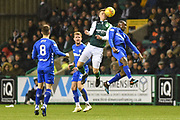 Florian Kamberi rises highest during the Ladbrokes Scottish Premiership match between Hibernian and Rangers at Easter Road, Edinburgh, Scotland on 8 March 2019.