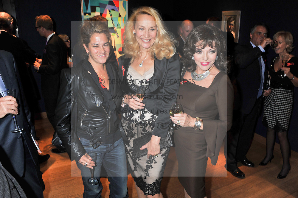 Left to right,TRACEY EMIN,  JERRY HALL and JOAN COLLINS at the Lighthouse Gala Auction in aid of The Terrence Higgins Trust held at Christie's, 8 King Street, St.James' London on 19th March 2012.