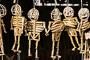 Hand crafted skeleton decorations made for the Day of the Dead festival October 31, 2017 in Tzintzuntzan, Michoacan, Mexico.