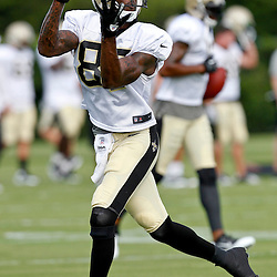 July 28, 2012; Metairie, LA, USA; New Orleans Saints wide receiver Adrian Arrington (87) during a training camp practice at the team's practice facility. Mandatory Credit: Derick E. Hingle-US PRESSWIRE