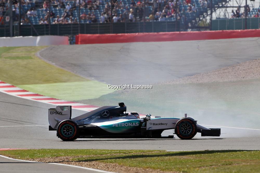 &copy; Photo4 / LaPresse<br /> 03/07/2015 Silverstone, England<br /> Sport <br /> Grand Prix Formula One England 2015<br /> In the pic: Lewis Hamilton (GBR) Mercedes AMG F1 W06 spins