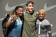 LSU Tigers former athletes Aleia  Hobbs  (left), Mondo Duplantis aka Armand Duplantis and Sha'Carri Richardson pose at a training session  prior to the 45th Prefontaine Classic, Saturday, June 29, 2019, in Stanford,  Calif.