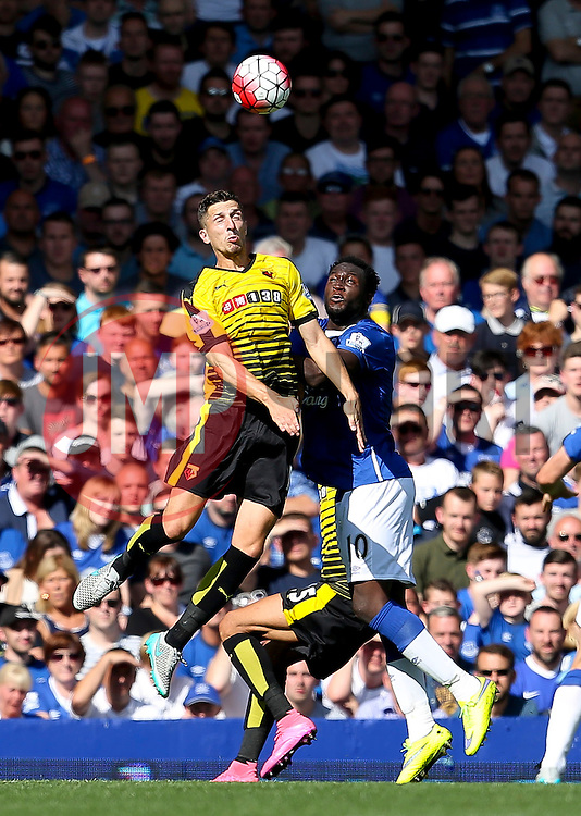 Watford's Craig Cathcart wins a header against Everton's Romelu Lukaku  - Mandatory byline: Matt McNulty/JMP - 07966386802 - 08/08/2015 - FOOTBALL - Goodison Park -Liverpool,England - Everton v Watford - Barclays Premier League