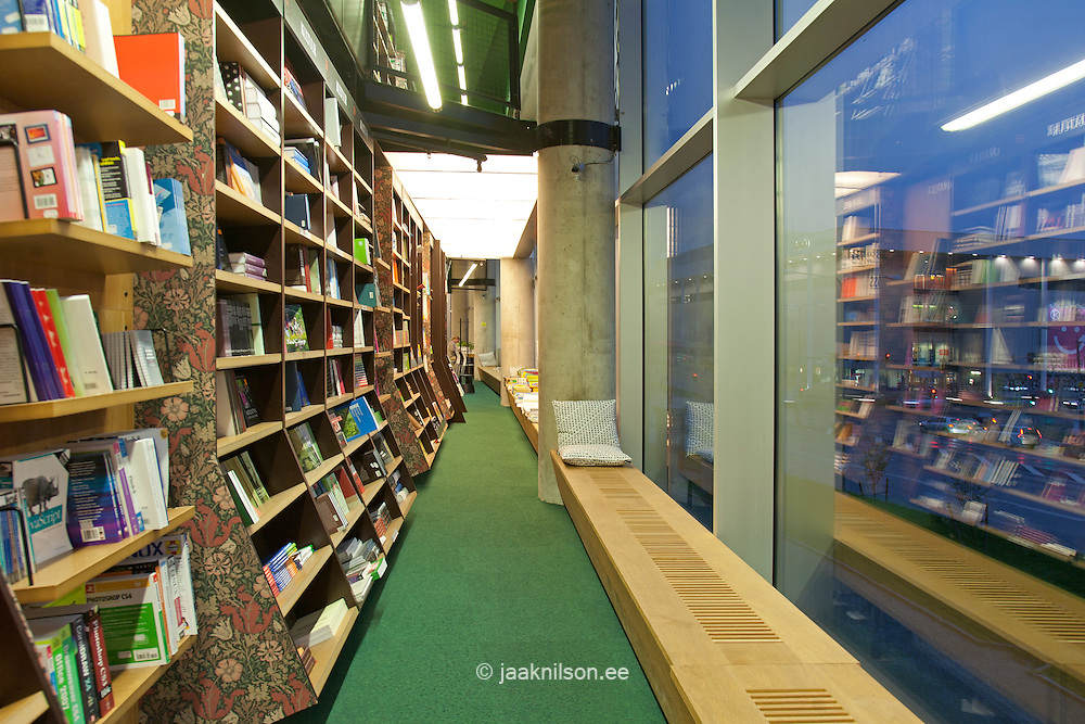 bookstore reading bench by windows