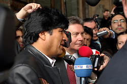 BRUSSELS, BELGIUM - MAY-16-2006 - Evo Morales, President of Bolivia, and  Karel De Gucht, Belgian Minister of Foreign Affairs, speak to reporters following their joint press conference in Brussels. Morales held talks with top Belgian government officials Tuesday on his energy nationalization plans. Morales had addressed lawmakers at the European Parliament in Strasbourg, France, on Monday, telling them he would not prevent European energy companies from investing in Bolivia. Earlier this month, he had announced plans to nationalize his South American country's natural gas and oil sector, causing widespread concern that was voiced during last week's EU-Latin America summit. EU leaders urged him not to adopt protectionist economic policies, which they said could be detrimental in fighting poverty and act as a deterrent to foreign investors. Bolivia has the second-largest natural gas reserves in South America, after Venezuela, reports the AP.(PHOTO © JOCK FISTICK)