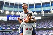 Goal Tottenham Hotspur forward Heung-Min Son (7) scores a goal and celebrates 1-0 during the Premier League match between Tottenham Hotspur and Crystal Palace at Tottenham Hotspur Stadium, London, United Kingdom on 14 September 2019.