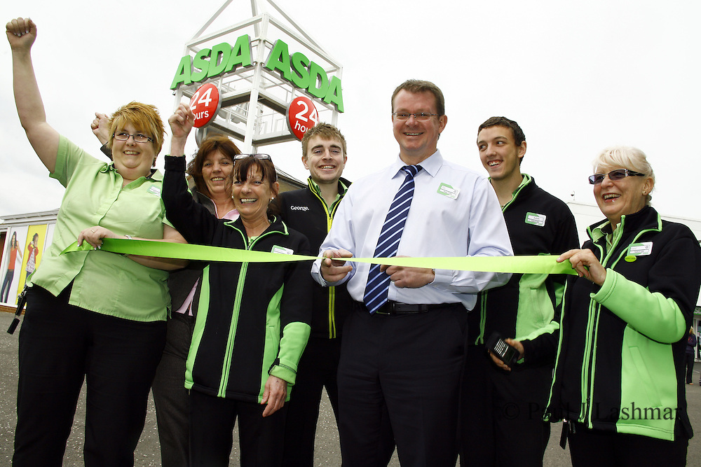 Colleagues of ASDA corby outside the newly revamped store
