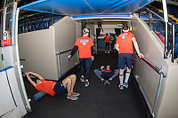 KELOWNA, CANADA - SEPTEMBER 24: The Kamloops Blazers warm up off ice before taking on the Kelowna Rockets on September 24, 2016 at Prospera Place in Kelowna, British Columbia, Canada.  (Photo by Marissa Baecker/Shoot the Breeze)  *** Local Caption ***