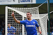 Gillingham forward Cody MacDonald (10) celebrates after scoring (1-0) during the EFL Sky Bet League 1 match between Gillingham and Oldham Athletic at the MEMS Priestfield Stadium, Gillingham, England on 8 October 2016. Photo by Martin Cole.