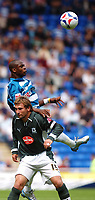 Photo: Alan Crowhurst.<br /> Reading v Plymouth Argyle. Coca Cola Championship.<br /> 06/08/2005. Readings Leroy Lita outjumps the Plymouth defence.