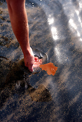 05 May 2010. Venice, Louisiana. Deepwater Horizon, British Petroleum environmental oil spill disaster. <br /> Fishing guide William Bradford picks up sludge as he glides through a mix of oil and dispersant, 10 miles south of Venice Marina and approximately 34 miles from the site of the Deepwater Horizon's sunken oil platform. The sludge is a gelatinous mix with the consistency of diarrhea, sometimes clumped together in large masses so thick you can not see the ocean through it. The water, for miles and miles is filled with small pea shaped clumps, most the size of every kind of fish food available from small fish shape to shrimp to plankton. It is everywhere. The sheen on the surface is everywhere. It stretches for miles and miles and miles and miles and miles. Dead Jellyfish shrivel in the mix, the main seafood of turtles passing through at this time of year. What have we done?<br /> Photo credit; Charlie Varley/varleypix.com