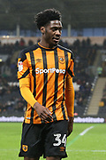 Hull City defender Ola Aina (34)  during the EFL Sky Bet Championship match between Hull City and Aston Villa at the KCOM Stadium, Kingston upon Hull, England on 31 March 2018. Picture by Mick Atkins.