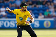 Gloucestershire's Benny Howell throws to the keeper<br /> <br /> Photographer Simon King/Replay Images<br /> <br /> Vitality Blast T20 - Round 8 - Glamorgan v Gloucestershire - Friday 3rd August 2018 - Sophia Gardens - Cardiff<br /> <br /> World Copyright &copy; Replay Images . All rights reserved. info@replayimages.co.uk - http://replayimages.co.uk