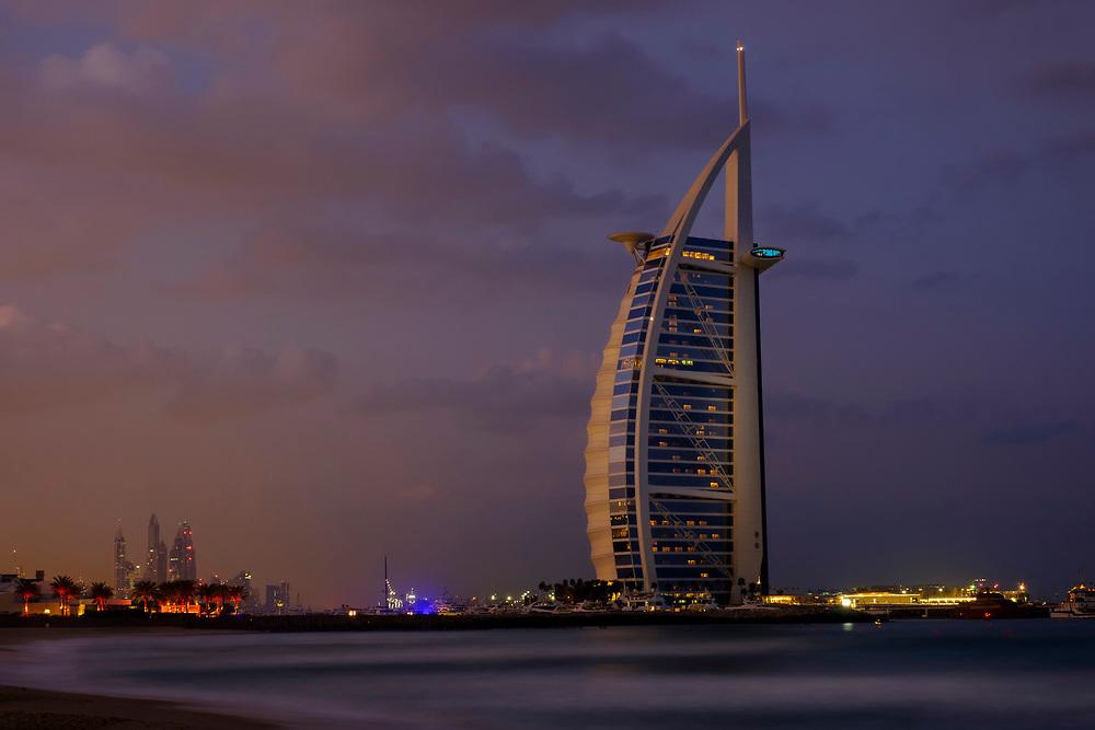 UNITED ARAB EMIRATES, DUBAI - CIRCA JANUARY 2017:  Burj Al Arab at dawn, the only 7 star hotel in the world.