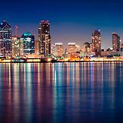 Downtown San Diego from Harbor Island Drive. San Diego, CA