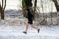 © Licensed to London News Pictures.27/02/2018<br /> Pratts Bottom, UK.<br /> A man running in shorts along A21 Sevenoaks Road in Pratts Bottom,Kent.<br /> Photo credit: Grant Falvey/LNP