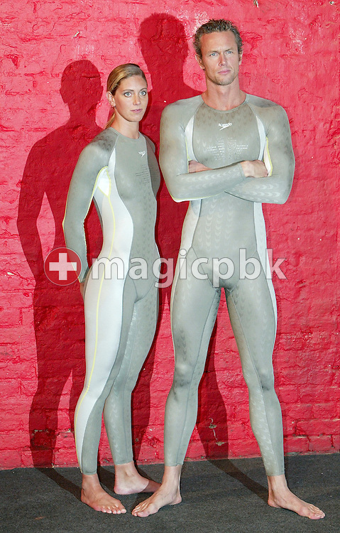 Katy Sexton (L) and Mark Foster of Great Britain pose in the new Speedo FASTSKIN FSII (FS2) swim suit on Tuesday, March 9, 2004, at the launch party in London. (Photo by Patrick B. Kraemer/MAGICPBK)