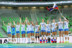 Players of Slovenia celebrate silver medal after the volleyball match between National team of Turkey and Slovenia in Gold Medal game of Womens U23 World Championship 2017, on September 17, 2017 in SRC Stozice, Ljubljana, Slovenia. Photo by Morgan Kristan / Sportida