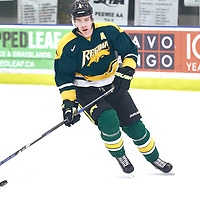 3rd year defence man, Isaac Schacher (4) of the Regina Cougars during the Men's Hockey Home Game on Sat Dec 01 at Co-operators Center. Credit: Arthur Ward/Arthur Images