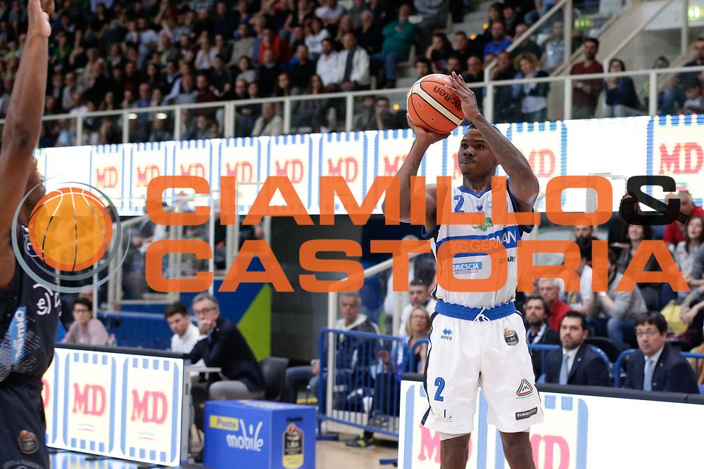 Lee Moore<br /> Dolomiti Energia Aquila Basket Trento - Germani Basket Brescia Leonessa<br /> Lega Basket Serie A 2016/2017<br /> PalaTrento, 23/04/2017<br /> Foto Ciamillo-Castoria / M. Brondi