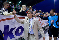 Coach of Rudar Marijan Pusnik and goalkeeper Boban Savic celebrate with fans at 1st Round of Europe League football match between NK Rudar Velenje (Slovenia) and Trans Narva (Estonia), on July 9 2009, in Velenje, Slovenia. Rudar won 3:1 and qualified to 2nd Round. (Photo by Vid Ponikvar / Sportida)