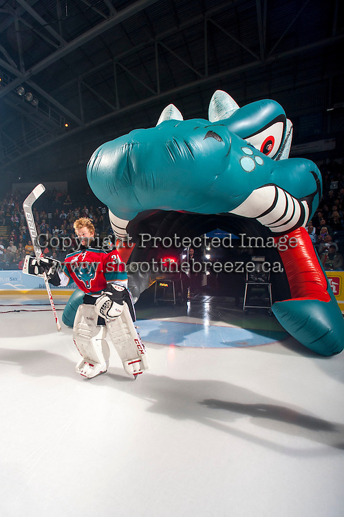 KELOWNA, CANADA - SEPTEMBER 21:  Jordon Cooke #30 of the Kelowna Rockets enters the ice during the regular season home opener against the Kamloops Blazers at the Kelowna Rockets on September 21, 2013 at Prospera Place in Kelowna, British Columbia, Canada (Photo by Marissa Baecker/Shoot the Breeze) *** Local Caption ***