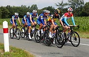 MOUILLERON-LE-CAPTIF, FRANCE - JULY 5 : GILBERT Philippe (BEL)  of Quick - Step Floors - LAMPAERT Yves (BEL)  of Quick - Step Floors - JUNGELS Bob (LUX)  of Quick - Step Floors during a team reconnaissance of stage 1 prior the 105th edition of the 2018 Tour de France cycling race, a stage of 201 kms between Noirmoutier-en-l'Ile and Mouilleron-Le-Captif on July 05, 2018 in Mouilleron-Le-Captif, France, 05/07/2018