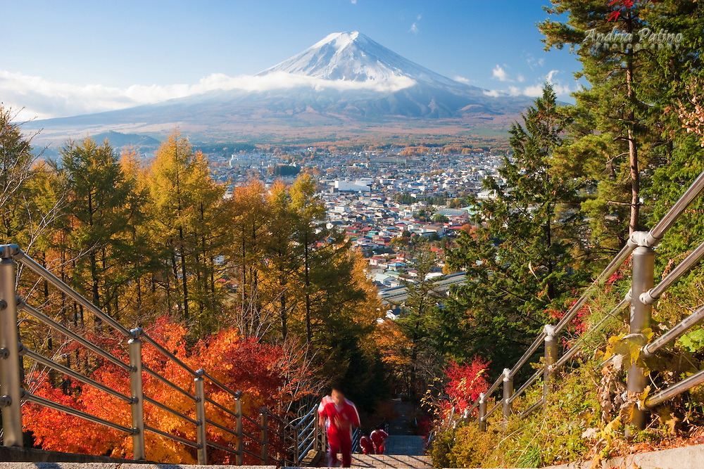 View of Mount Fuji and  Fujiyoshida City, Japan
