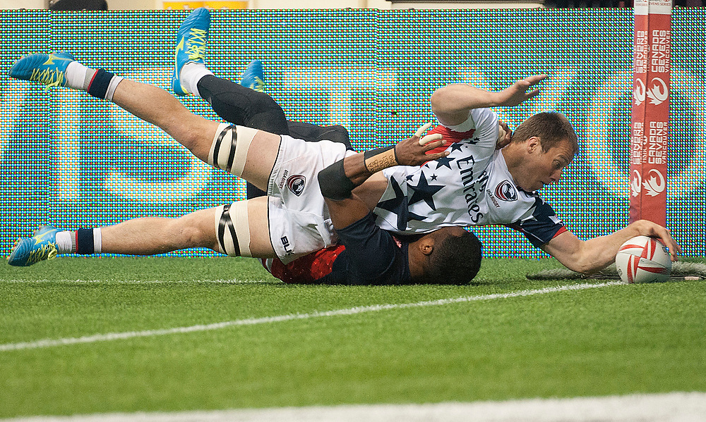 Stephen Tomasin scores against Japan during the pool stages of the Canada Sevens,  Round Six of the World Rugby HSBC Sevens Series in Vancouver, British Columbia, Saturday March 11, 2017. <br /> <br /> Jack Megaw.<br /> <br /> www.jackmegaw.com<br /> <br /> jack@jackmegaw.com<br /> @jackmegawphoto<br /> [US] +1 610.764.3094<br /> [UK] +44 07481 764811