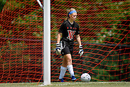 26 MAY 2012 -- TOWN & COUNTRY, Mo. -- Visitation Academy soccer goalie Grace Forthaus retrieves the ball from the net after a goal by St. Dominic High School player Alex Schmitz (not pictured) during the MSHSAA Class 2 girls' soccer quarterfinals at Visitation Saturday, May 26, 2012. St. Dominic topped the Vivettes 8-1 to advance to Friday's semifinals against Helias Catholic High School at Blue Springs South High School. Photo © copyright 2012 Sid Hastings.