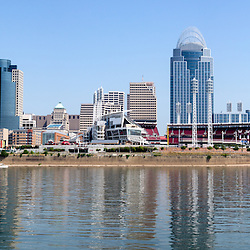 Cincinnati panorama skyline and downtown city buildings including Great American Ballpark, Great American Insurance Group Tower, PNC Tower building, Omnicare building, US Bank building, Carew Tower building, Scripps Center building, and US Bank Area. Photo was taken in July 2012. Panoramic ratio is 1:3 and is extremely high resolution at 12,000 x 4,000 pixels.<br /> <br /> To purchase a license of this panorama as a stock photo or print, please contact me.