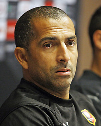 November 7, 2018 - Kiev, Ukraine - Rennes' French coach Sabri Lamouchi attends a press-conference in Kiev, Ukraine, 07 November, 2018. Rennes will play against Dynamo Kyiv at the UEFA Europa League Group K second-leg football match at the Olympiyskiy Stadium in Kiev, on November 08. (Credit Image: © Str/NurPhoto via ZUMA Press)