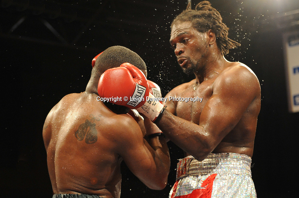 Audley Harrison defeats Michael Sprott by way of knockout on the 9th April 2010 at Alexandra Palace, London. European Heavyweight Championship. Matchroom Sport. Photo credit: © Leigh Dawney