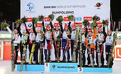 14.01.2015, Biathlonarena, Ruhpolding, GER, BMW IBU Weltcup, 4 x 6 km Staffel, Damen, im Bild die Flower Ceremony mit Team Weissrussland, Platz 2, Team Tschechien, Platz 1, und Team Deutschland, Platz 3 // 2nd placed team Belarus, 1st placed team czech republic and 3rd placed team germany at flower ceremony after Women's 4 x 6 km Relay of BMW IBU Biathlon World Cup at the Biathlonarena in Ruhpolding, Germany on 2015/01/14. EXPA Pictures © 2015, PhotoCredit: EXPA/ Martin Huber