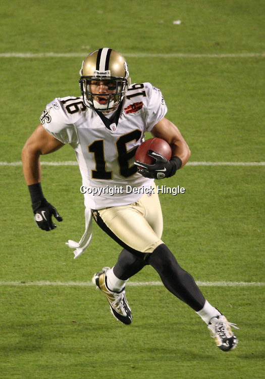 Feb 07, 2010; Miami Gardens, FL, USA; New Orleans Saints wide receiver Lance Moore (16) runs after a catch during a 31-17 win by the New Orleans Saints over the Indianapolis Colts in Super Bowl XLIV at Sun Life Stadium.  Mandatory Credit: Derick E. Hingle-US PRESSWIRE
