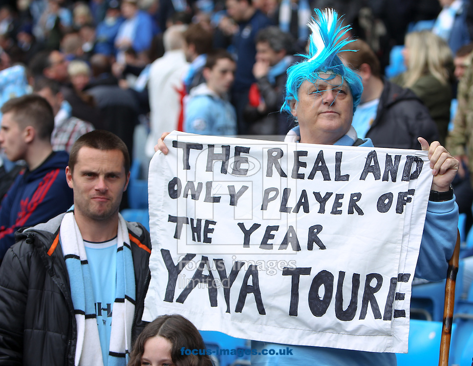 A Manchester City fan lets people know who he believes to be the player of the year before the Barclays Premier League match at the Etihad Stadium, Manchester<br /> Picture by John Rainford/Focus Images Ltd +44 7506 538356<br /> 11/05/2014