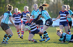 Meg Jones of Bristol Ladies is tackled by Alexia Mavroudis of Worcester Valkyries - Mandatory by-line: Paul Knight/JMP - 04/12/2016 - RUGBY - Cleve RFC - Bristol, England - Bristol Ladies v Worcester Valkyries - RFU Women's Premiership